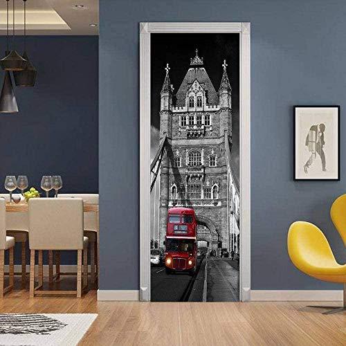 Etiqueta engomada de la puerta 3D Papel tapiz Mural London Bridge Red Bus Autoadhesivo Extraíble Pegatinas de pared de vinilo impermeables Adecuado para guardería Sala de estar Oficina Arte Decoraci