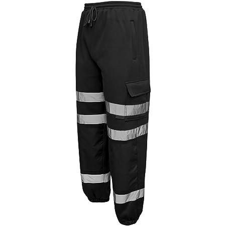 Mens Hi Vis Viz JOGGING BOTTOMS Combat Trousers Workwear JOGGERS [Black 3XL]