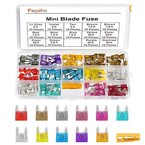 FEPITO 140pcs Mini fusible de la cuchilla del surtido del coche para el carro del coche auto con la caja de almacenamiento (2A, 3A, 5A, 7.5A, 10A, 15A, 20A, 25A, 30A, 35A, 40A)