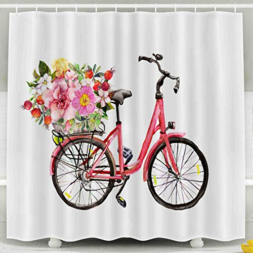 N\A Rideau de Douche, Rideau de Douche pour Enfants, Fleurs de vélo Rose Dans le Panier Aquarelle décor étanche Ensemble de Salle de Bain Avec crochets