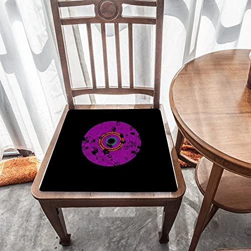 Cojín de asiento extraíble para decoración del hogar, para exteriores, jardín, patio, cocina, oficina, lavable, cuadrado, cómodo, funda de silla, patrón de textura de disco de vinilo multicolor