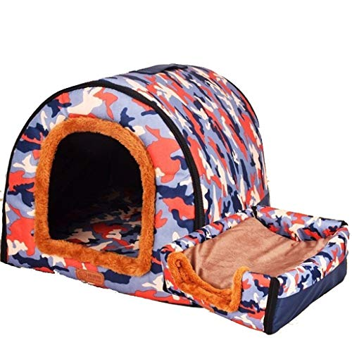 LQW HOME Fine Joy Hundebetten for kleine, mittelgroße Hunde Hundekiste Pet House Welpenbett Zwinger Abnehmbarer Bezug Haustiere Decke (Color : C-60x47x45cm)