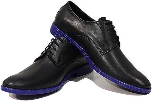 Modello Ugo - Cuero Italiano Hecho A Mano Hombre Piel Color azul Marino zapatos Vestir Oxfords - Cuero Cuero Suave - Encaje