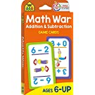 School Zone - Math War Addition & Subtraction Game Cards - Ages 6 and Up, Kindergarten, 1st Grade, 2nd Grade, Math Games, Numbers, Addition & Subtraction Facts, Early Math, and More