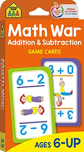 School Zone - Math War Addition & Subtraction Game Cards - Ages 6 and Up, Kindergarten, 1st Grade,...