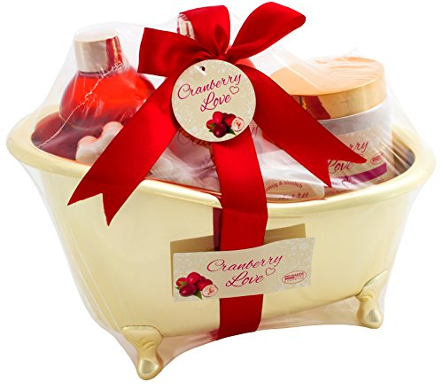 BRUBAKER 'Cranberry Love' Set de regalo de baño con bañera oro, 6 piezas