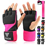 WYOX Boxing Wraps MMA Gloves Inner Boxing Gloves for Men Women Youth - EZ-Off & On - Thick Knuckle Padding - Breathable Fabric Hand Wraps Heavy Bag Gloves (Pink, X-Small)