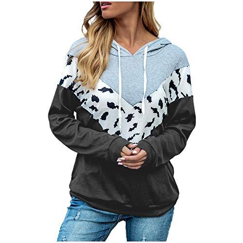 WAJLSWIK Sudadera con capucha para mujer, estampado de leopardo, manga larga, bloque de color, cordón