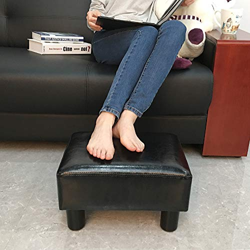 scriptract Modern Small Faux PU Leather Ottoman Footrest Stool Seat Chair Footstool,Black