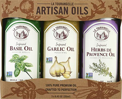 La Tourangelle Infused Trio of Oils - Infused Herbs de Provence Oil, Infused Garlic Oil, Infused Basil Oil Gift Set 8.45 Ounce (Set of 3) (Packaging may Vary)