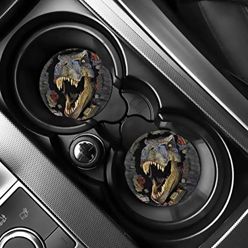 """AFPANQZ 3D Dinosaur Car Coasters for Cup Holders Absorbent Coasters Car Accessories 2.75"""" Car Coasters for Women 2 Pack Absorbent Coasters Felt+Rubber Car Coasters Gray"""