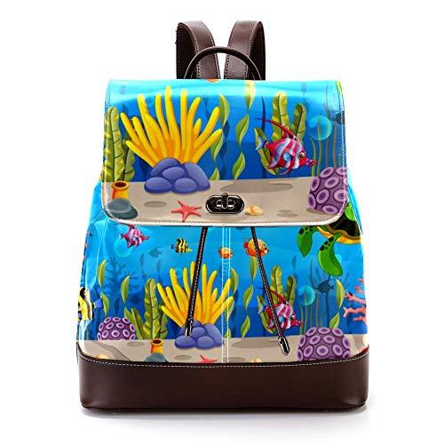 Mochila casual de cuero de la PU para los hombres, bolso de hombro de las mujeres estudiantes mochila para viajes negocios universidad dibujos animados tortuga subacuática