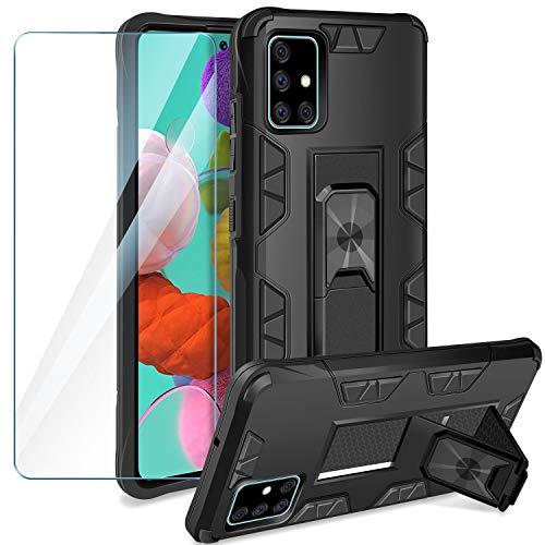 YIRSUR - Carcasa para Samsung Galaxy A51 con protector de pantalla, Armor antigolpes, silicona TPU, carcasa rígida para teléfono móvil, soporte integrado para Samsung Galaxy A51, color negro