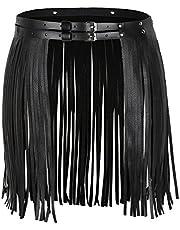 iiniim Falda de Borla Flecos de Cuero Mujer Adulto Punk Hip-Hop Mini Falda con Cinturón Cintura Ajustable con Hebilla Falda Corto para Fiesta Club Danza Clubwear