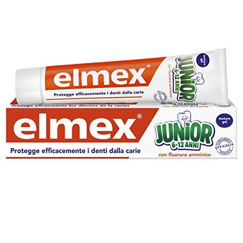 Elmex - Dentifricio Junior 6-12 Anni - Dentifricio Per Bambini Con Fluoruro Amminico - Protegge Efficacemente I Denti Dei Bimbi Dalla Carie - Anticarie - 0% Coloranti - 75 ml