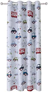 AiFish 1 Panel Cartoon Cars and Bus Printed Kids Room Semi-Blackout Curtains Room Darkening Thermal Insulated Window Panel Drapes for Boys Girls Bedroom W39 x L63 inch
