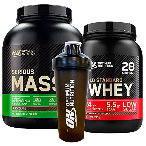 Optimum Nutrition Gold Standard 100% Whey Proteine in Polvere con Aminoacidi Cioccolato al Latte 896g 28 Porzioni + Serious Mass Proteine Whey con Creatina Cioccolato 2,73kg 8 Porzioni + SHAKER
