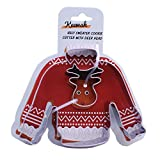 """4 inch Ugly Sweater Cookie Cutter with Mini Deer Head - 4"""" Sweater and 1.4"""" Deer Head - Stainless Steel"""
