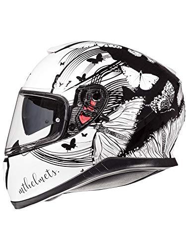 Casco Moto Mt 2019 Thunder 3 Sv Vlinder Pearl Blanco-Negro (S , Blanco)
