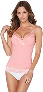 Rhonda Shear Pin-Up Lace Camisole Tank~ Coral Pink Large