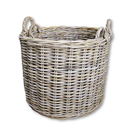 SET OF TWO Round Wicker Log Storage Baskets Grey and Buff Rattan Large and Extra Large