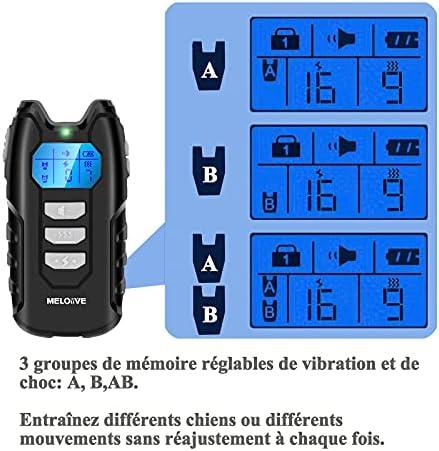 Meloive Collier de Dressage pour Chiens Rechargeable, 100% Résistant à L'Eau avec Verrouillage de Sécurité. Modes Son, Vibration, Ecran LCD Rétro-éclairé et Portée Jusqu'à 400 m.