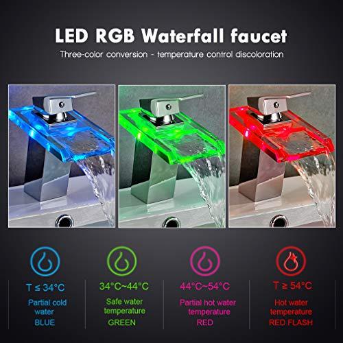 Auralum® Armatur LED RGB Glass Wasserhahn Waschtischarmatur für Bad/Badezimmer/Küchen - 7