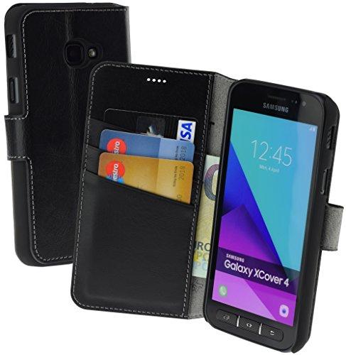 Suncase Book-Style (Slim-Fit) Ledertasche Leder Tasche Schutzhülle Hülle Hülle (mit Standfunktion & Kartenfach) kompatibel für Samsung Galaxy Xcover 4 in schwarz