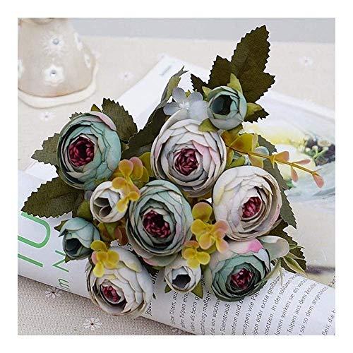 ZSM 1 Bündel Silk Teerosen Bride Bouquet for Weihnachten zu Hause Hochzeit Dekoration des neuen Jahres gefälschte Pflanzen künstliche Blumen Tischdekoration Dekorationen (Farbe: Hell lila) YMIK