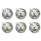 BESPORTBLE 6 Piezas Mini Bola de Espejo Bolas de Cristal Reflectantes Bolas de Discoteca para Boda Baile Fiesta Fiesta de Cumpleaños Bar (Tamaño L Plata)