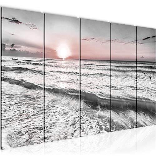 Runa Art Cuadro XXL Puesta De Sol Playa 200 x 80 cm Gris Rosado 5 Piezas - Made in Germany - 023755b