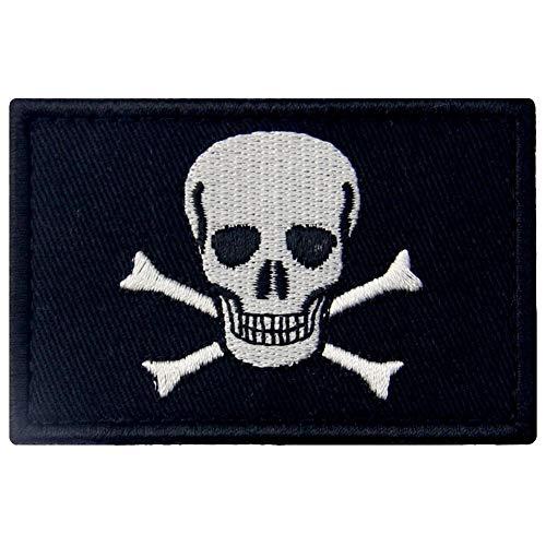 Bandiera dei pirati di Jolly Roger con Fissaggio Chiusura a uncino e asola Ricamata Toppa