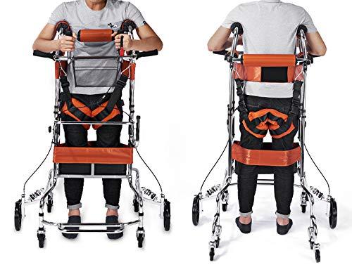 XJZHAN Andador para Adultos Multifuncional 8 Ruedas con Asiento Acolchado Frenos con Llave Andar de pie Apoplejía Hemiplegia Equipo de rehabilitación