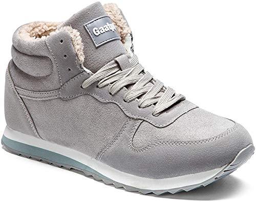 Gaatpot Zapatos Invierno Botas Forradas de Nieve Zapatillas Sneaker Botines Planas para Hombres Mujer Gris EU 41.5 = CN 43