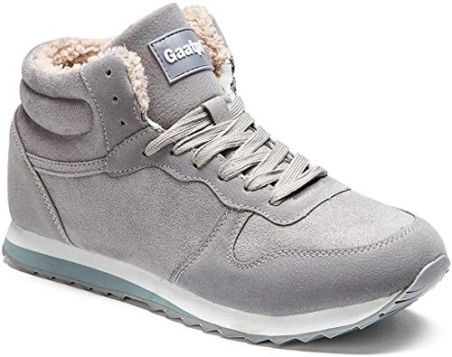 Gaatpot Herren Damen Winterschuhe Schneestiefel Winter Hohe Sneakers Warm gefütterte Leder Schnür Stiefel Boots Schuhe Grau EU 41.5 = CN 43