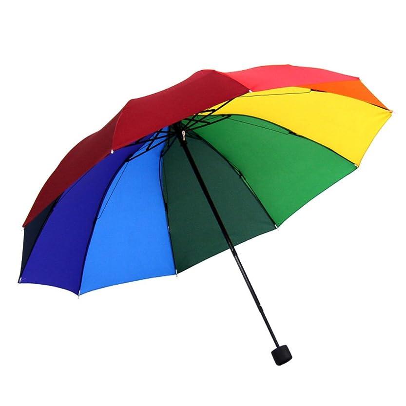 気晴らしテレビ後悔レインボー傘防風スケルトン三角傘折りたたみ10骨強化雨傘風と雨の日焼け止め ズトイビー