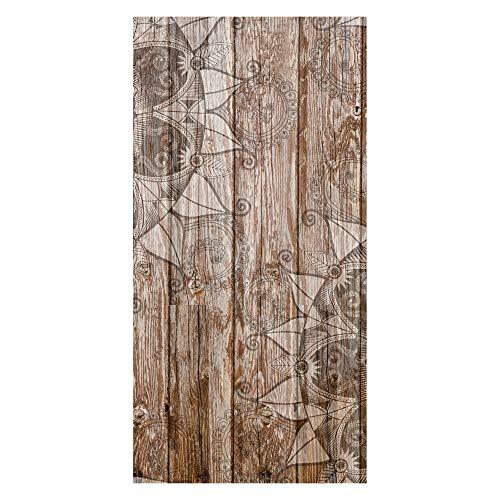wandmotiv24 Türtapete Holzwand mit Mandalas 100 x 200cm (B x H) - Dekorfolie selbstklebend Tapete, Tür-Aufkleber, Türbild, Wandbild M0722