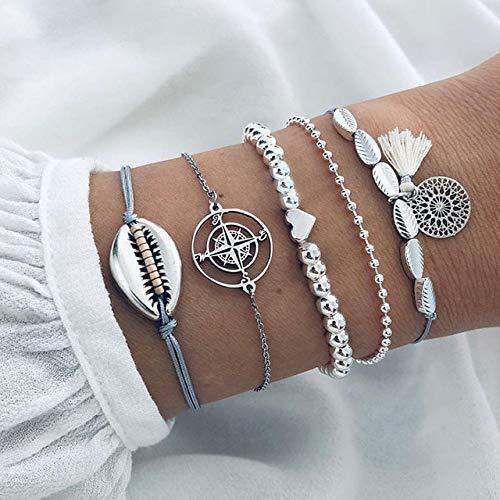 6 Stück/Set Gold Link Chain Armbänder für Frauen Grüne Naturstein Armbänder Set Damen Gold Sea Shell Charm Armbänder Boho