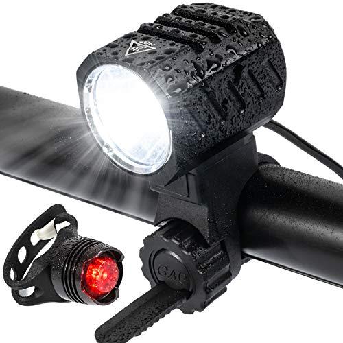 Luz Bicicleta, Luces de Bicicleta Recargables por USB, Faros LED de 1200 Lúmenes , Faros Impermeables con Luces Traseras de Seguridad de Batería, Accesorios de Seguridad para Bicicleta de Montaña