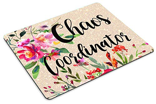 Smooffly Funny Quote Chaos Coordinator Mouse Pad, Desk Accessories, Quote Mouse Pad, Office Decor, Watercolor Floral Mouse Pad, Office Supplies Photo #6