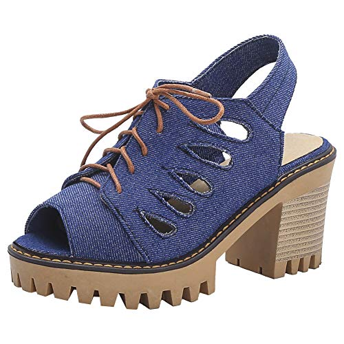 XIEWANG Donna Sandali Estate Jeans (Blu,42)
