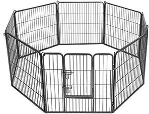 Maxx - Parc Enclos pour Chiens - Porte et 8 Panneaux - Grillage en Fer - Ø 210 cm - Cage pour Chiens Chiots Animaux de Compagnie