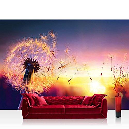 Vlies Fototapete 368x254 cm PREMIUM PLUS Wand Foto Tapete Wand Bild Vliestapete - Natur Tapete Pusteblume Blume Sonne Himmel Wiese Sonnenuntergang natural - no. 4532