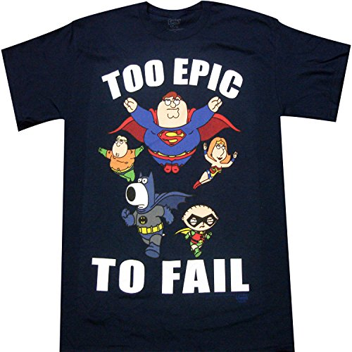 Family Guy Superheroes Too Epic to Fail Adult T-shirt (Small, Navy Blue)