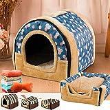 ペットベッド ドーム型 ペットハウス 2way 犬猫用 室内用 オールシーズン ふわふわ クッション付き 犬小屋 屋根付き 猫 テント おしゃれ 洗える 折りたたみ可 寝床 冷暖房 ホットカーペット対応 ペット用品 小 中型犬用 ベッド l