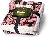 TrailCrest Soft Touch Reversible Camo Throw Blanket - 60' X 80' - Pink Camo