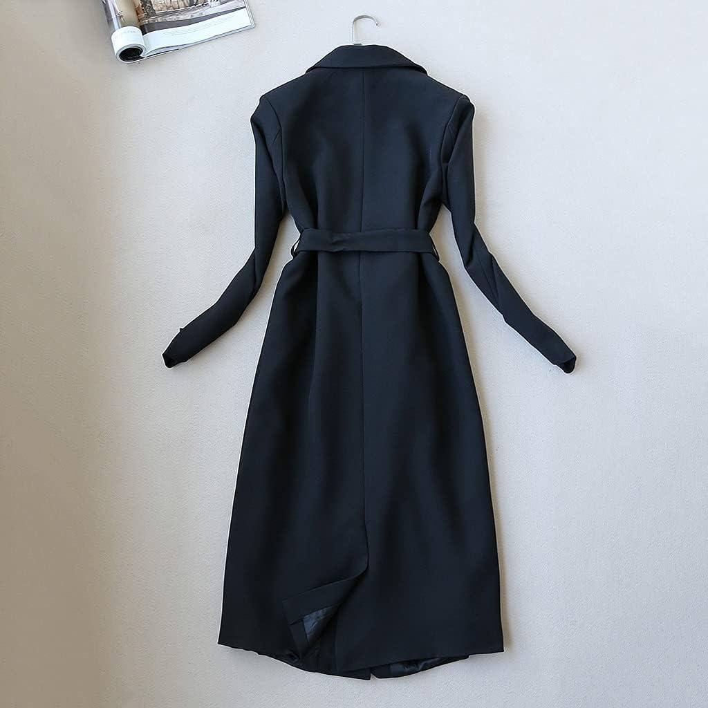 NJBYX Temperament Women's Suit Skirt Set Two-piece Autumn And Winter Long Ladies Coat Jacket Slim Skirt (Color : Black, Size : M code)
