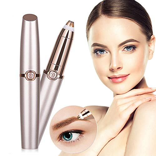 Eyebrow Razor for Women, Electric Painless Eyebrow Trimmer Hair Remover, Portable Eyebrow Shaper Hair Removal Razor with Light (Rose Gold)