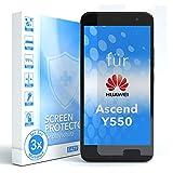 EAZY CASE 3X Bildschirmschutzfolie kompatibel mit Huawei Ascend Y550, nur 0,05 mm dick I Bildschirmschutz, Schutzfolie, Bildschirmfolie, Transparent/Kristallklar