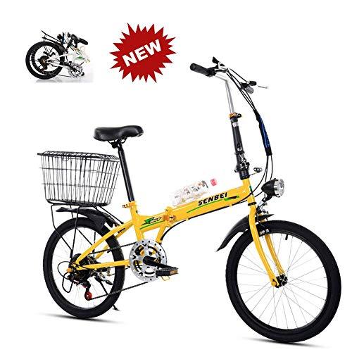 YLCJ 20-Zoll-Faltrad mit Variabler Geschwindigkeit Weiblich Männlich Erwachsener Student Ultraleichtes tragbares Falt-Freizeitfahrrad, Gelb